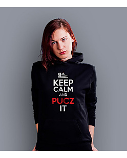 Keep Calm and PUCZ IT Damska bluza z kapturem Czarna XXL