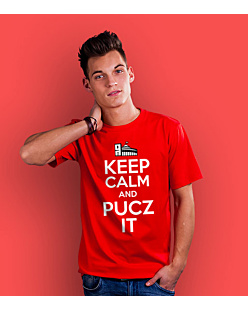 Keep Calm and PUCZ IT T-shirt męski Czerwony S