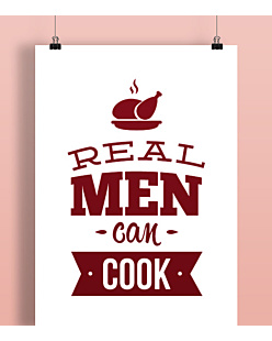Real Man Can Cook Plakat Biały A2