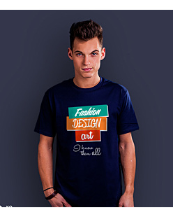 Fashion Design Art T-shirt męski Granatowy S