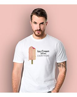 Ice Cream Solves Everything T-shirt męski Biały S