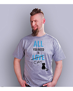 All You need is cat T-shirt męski Jasny melanż S