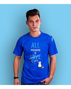 All You need is cat T-shirt męski Niebieski S