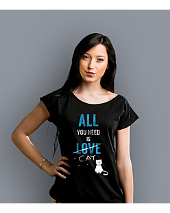 All You need is cat T-shirt damski Czarny XS