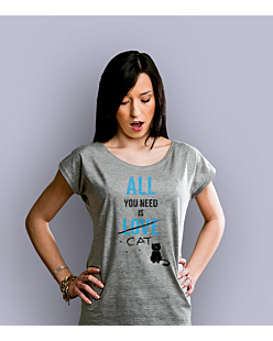 All You need is cat T-shirt damski Jasny melanż XS