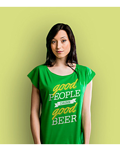Good Beer T-shirt damski Zielony XS