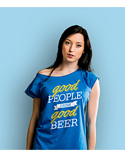 Good Beer T-shirt damski Niebieski XS