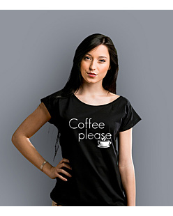 Coffee Please T-shirt damski Czarny XS