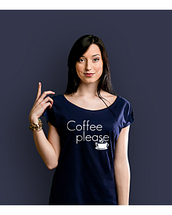Coffee Please T-shirt damski Granatowy XS