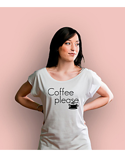 Coffee Please T-shirt damski Biały XS