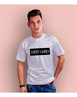 Party Hard label T-shirt męski Biały XXL