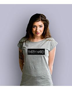 Party Hard label T-shirt damski Jasny melanż XXL