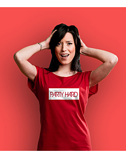 Party Hard label T-shirt damski Czerwony XS