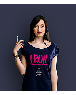 I Run for T-shirt damski Granatowy XS