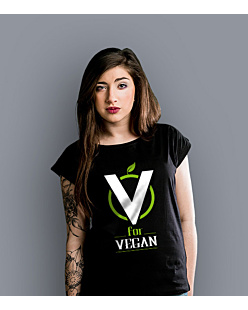 V for Vegan T-shirt damski Czarny XS