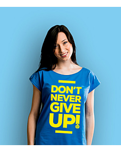 Don't never give up T-shirt damski Niebieski XS