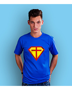 Super hero cross T-shirt męski Niebieski S