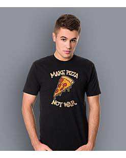 Make Pizza Not War T-shirt męski Czarny S