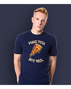 Make Pizza Not War T-shirt męski Granatowy S