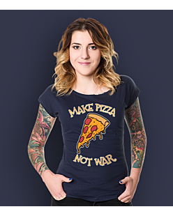 Make Pizza Not War T-shirt damski Granatowy XXL