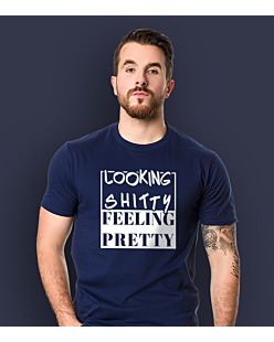 Looking shitty feeling pretty T-shirt męski Granatowy S