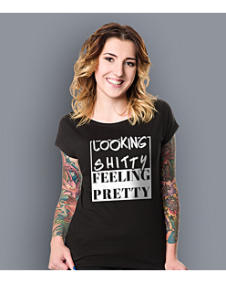 Looking shitty feeling pretty T-shirt damski Czarny XS