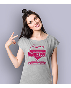 I am a Mom T-shirt damski Jasny melanż XS