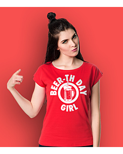 Beer-th Day Girl T-shirt damski Czerwony XXL