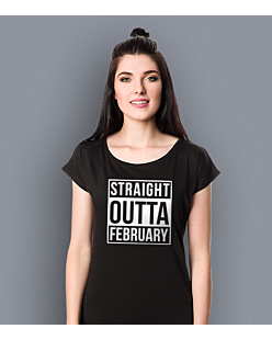 Straight Outta February T-shirt damski Czarny XXL