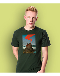 The Tower of Babel T-shirt męski Ciemnozielony S