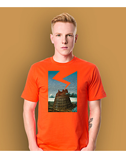 The Tower of Babel T-shirt męski Pomarańczowy S