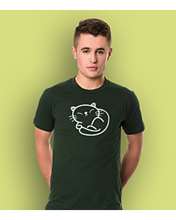 Cute Kitty T-shirt męski Ciemnozielony L