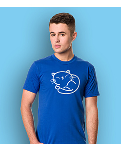 Cute Kitty T-shirt męski Niebieski S