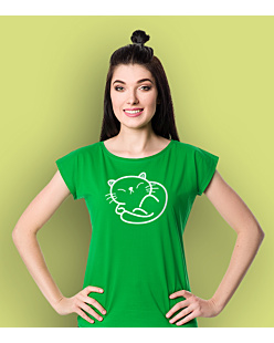 Cute Kitty T-shirt damski Zielony XS