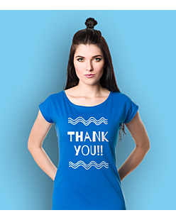 Thank You T-shirt damski Niebieski XS