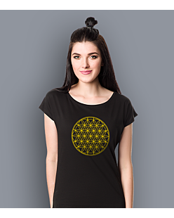 THE FLOWER OF LIFE T-shirt damski Czarny XS