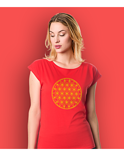 THE FLOWER OF LIFE T-shirt damski Czerwony XS