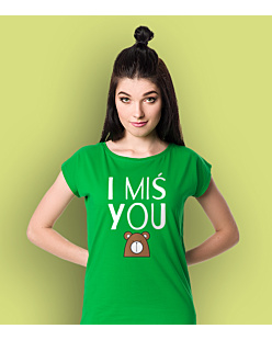 I Miś You T-shirt damski Zielony XS