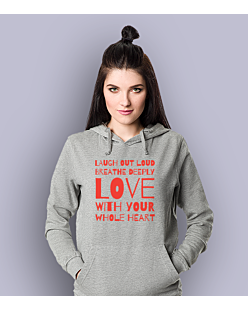 LAUGH, BREATHE, LOVE! Damska bluza z kapturem Jasny melanż S