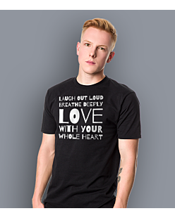 LAUGH, BREATHE, LOVE! T-shirt męski Czarny S