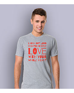 LAUGH, BREATHE, LOVE! T-shirt męski Jasny melanż S