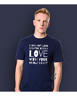LAUGH, BREATHE, LOVE! T-shirt męski Granatowy S