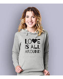 LOVE IS ALL AROUND Damska bluza z kapturem Jasny melanż S