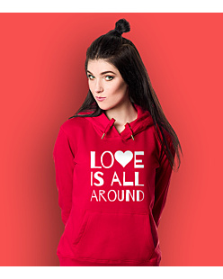 LOVE IS ALL AROUND Damska bluza z kapturem Czerwona M