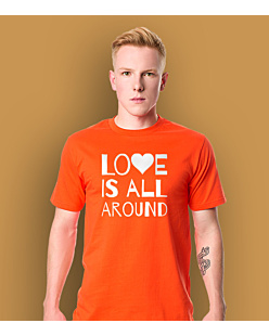 LOVE IS ALL AROUND T-shirt męski Pomarańczowy S