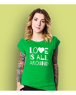 LOVE IS ALL AROUND T-shirt damski Zielony XS
