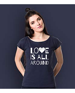 LOVE IS ALL AROUND T-shirt damski Granatowy XS