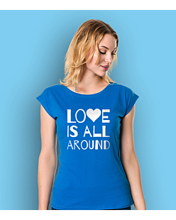 LOVE IS ALL AROUND T-shirt damski Niebieski XS