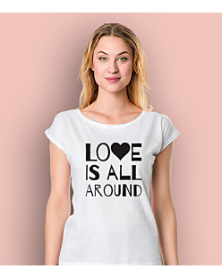 LOVE IS ALL AROUND T-shirt damski Biały XS