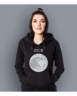 SET FOOT ON THE MOON Damska bluza z kapturem Czarna S